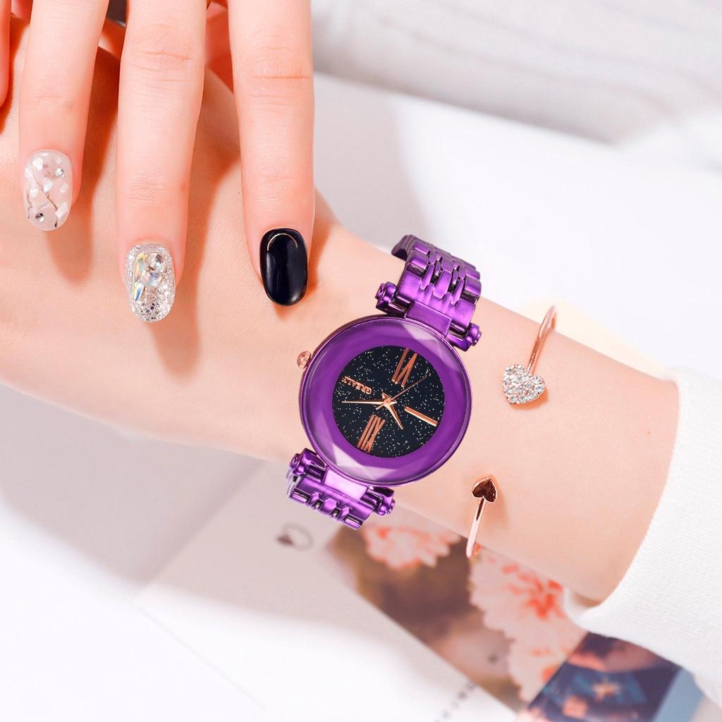 หรูหราพื้นผิวหรูหรา Starry หมุนนาฬิกาผู้หญิงผลึกคลาสสิก