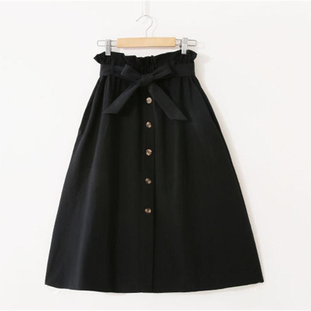 Women Korean Long Section High Waist Skirt Solid color- A Word Skirt Casual Skirt