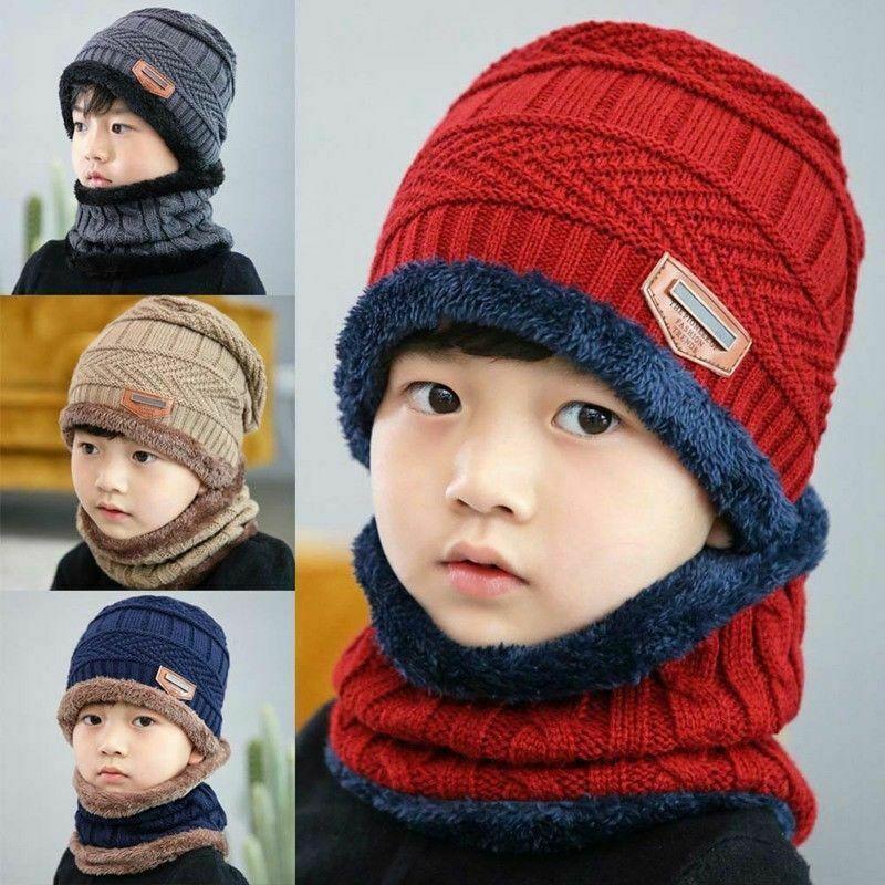 Bộ mũ len + khăn choàng cổ giữ ấm cho bé