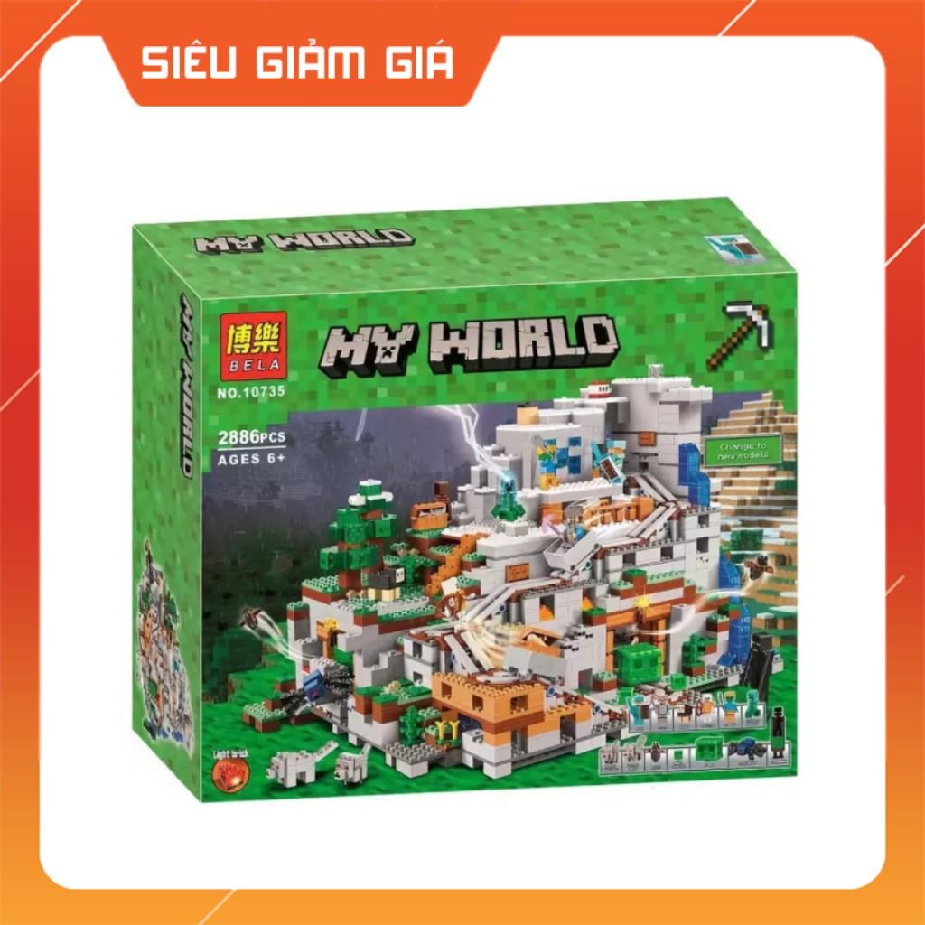 Lego MineCraft My World Lắp Ráp Mô Hình Sáng Tạo 1in3 Hang Động Núi Cao 2886 Khối BELA10735