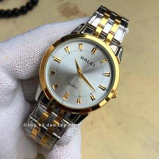 đồng hồ nam đẹp halei dây pha mặt trắng HL4004 chống nước chống xước,tặng kèm vòng tì hưu