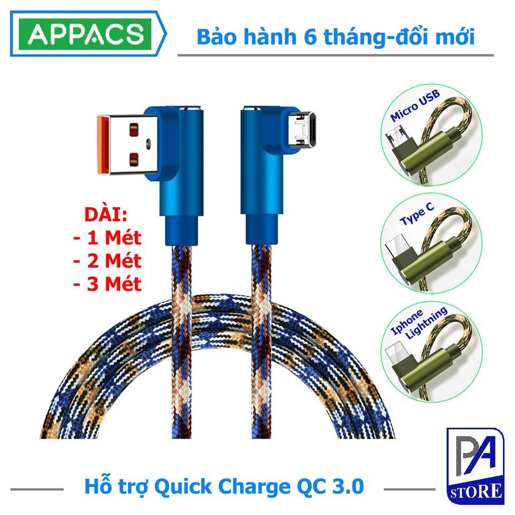 Cáp Sạc Nhanh QC3.0 APPACS Rằn Ri Siêu Ngầu,Type C - Iphone Lightning - MicroUSB, Đầu Chữ L Chống Vướng Tay Cao Cấp