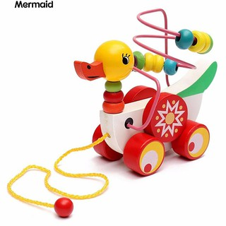 💖Colorful Wooden Pull Walk Along Duck Toy Bead Development Intelligence