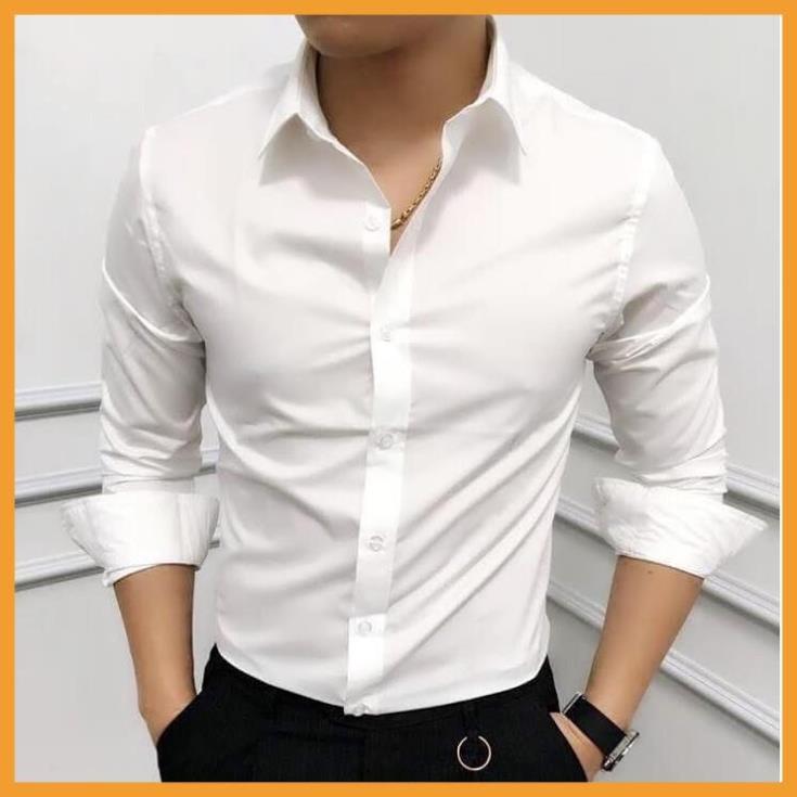 ( XẢ KHO 1 NGÀY ) Áo sơ mi nam dài tay Hàn Quốc dáng ôm sơ mi nam trắng cổ bẻ vải lụa thái chống nhăn chống xù