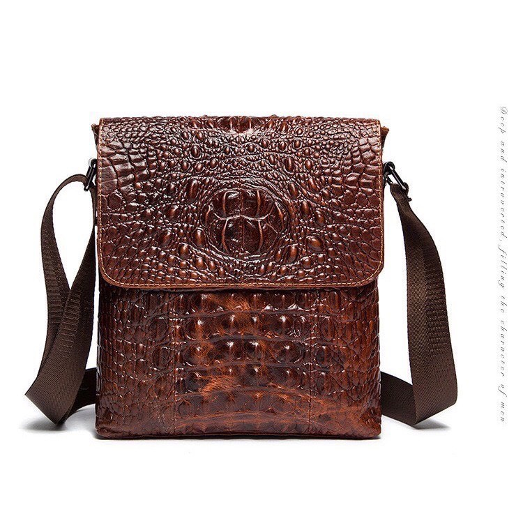 Túi đeo chéo nam da bò thật dập vân cá sấu 100% túi đựng ipad, túi nam da cao cấp, da cá sấu KT :28x24x5.5cm