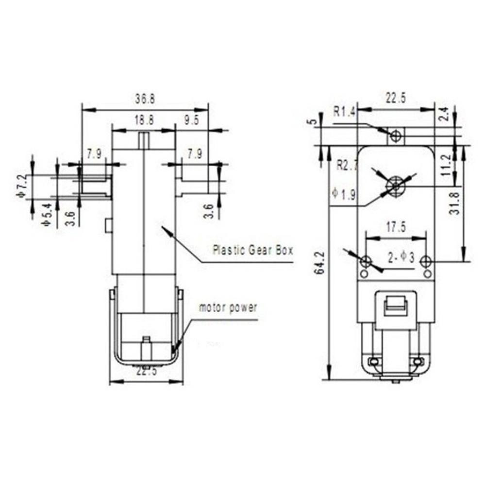 1pcs New DC 3V-6V Small Gear Motor TT for Smart Car Robot Yellow