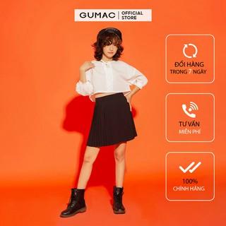 Chân Váy xòe nữ thiết kế dập ly dáng ngắn GUMAC màu đen cá tính VA1233