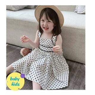 Váy mùa hè cho bé gái váy 2 dây xinh chấm bi vải đũi cao cấp