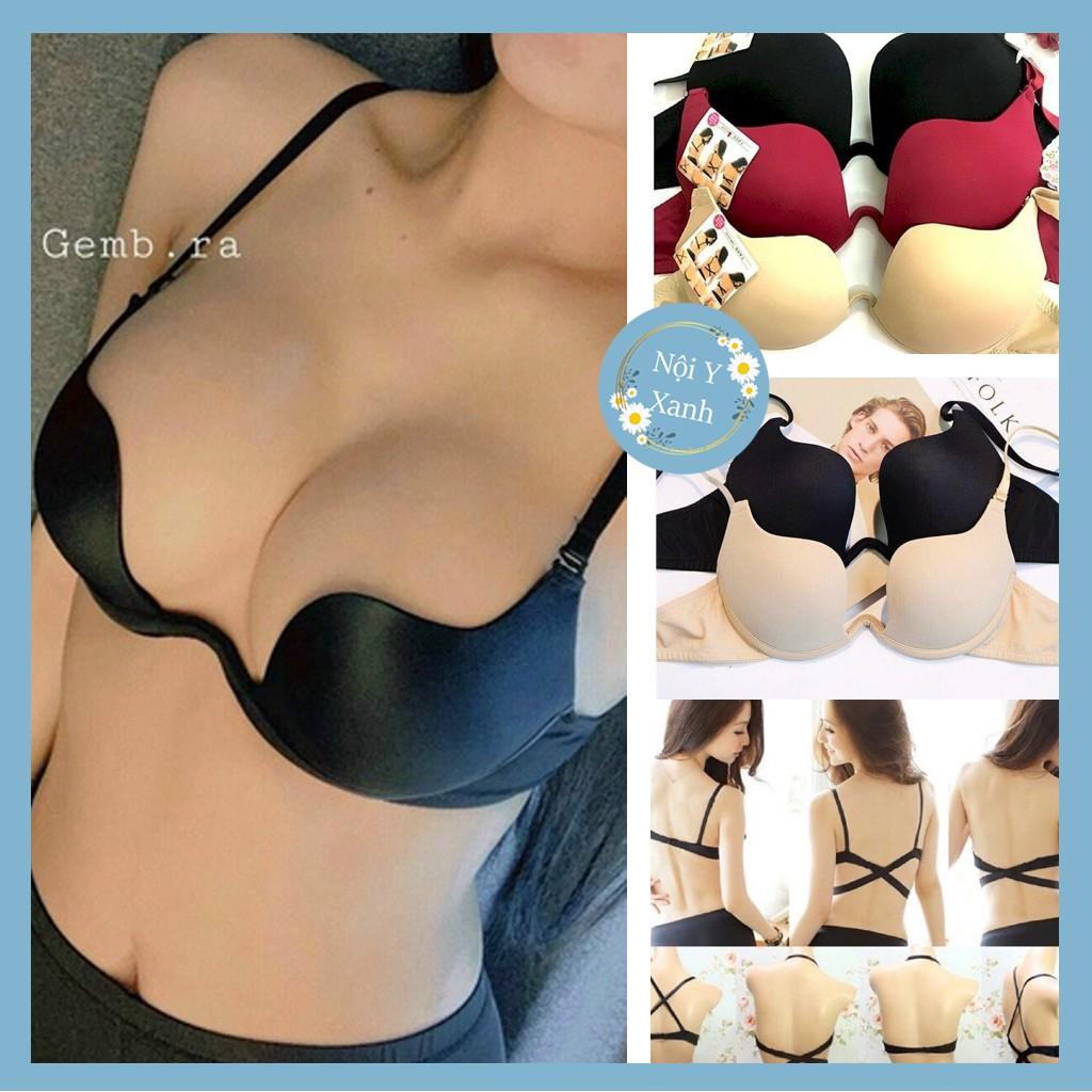 Áo lót nâng ngực multiway- Áo lót nữ, Áo ngực trơn cài trước có đệm, gọng nâng ngực Cao cấp siêu nâng ngực