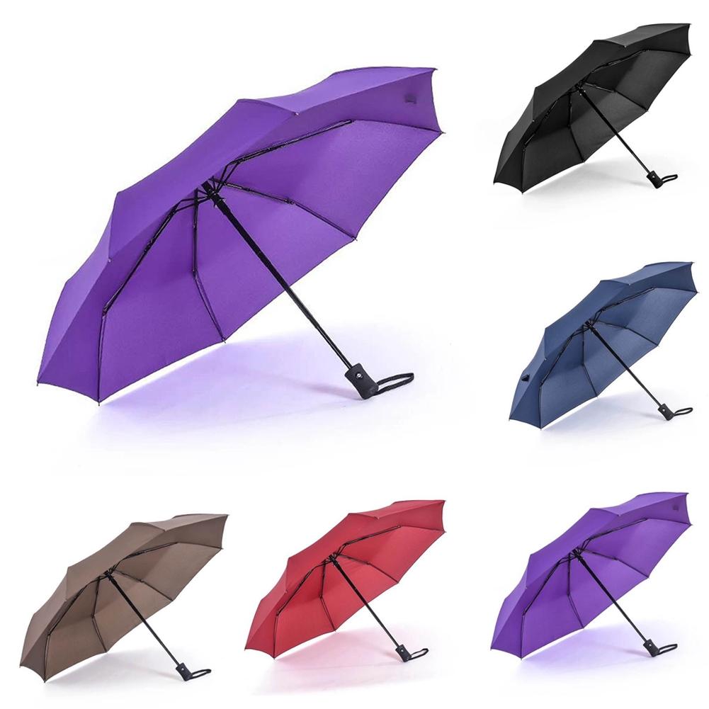 Rain Polyester Sun Folding Plain Colors Fast Dry Gift Travel Automatic Umbrella