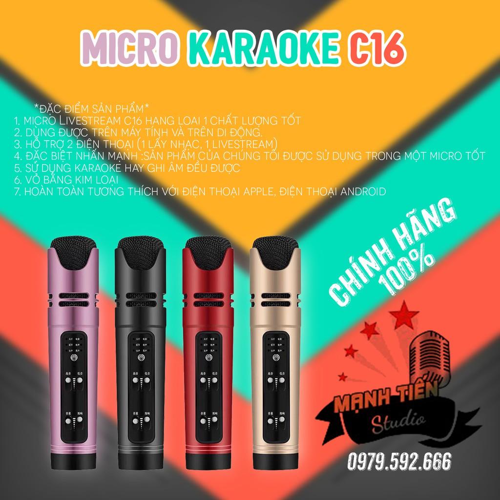 [Siêu Sale ] Micro live stream facebook, bigo tiktok,karaoke đa năng C16 giả giọng tặng kèm tai phone dễ dàng sử dụng