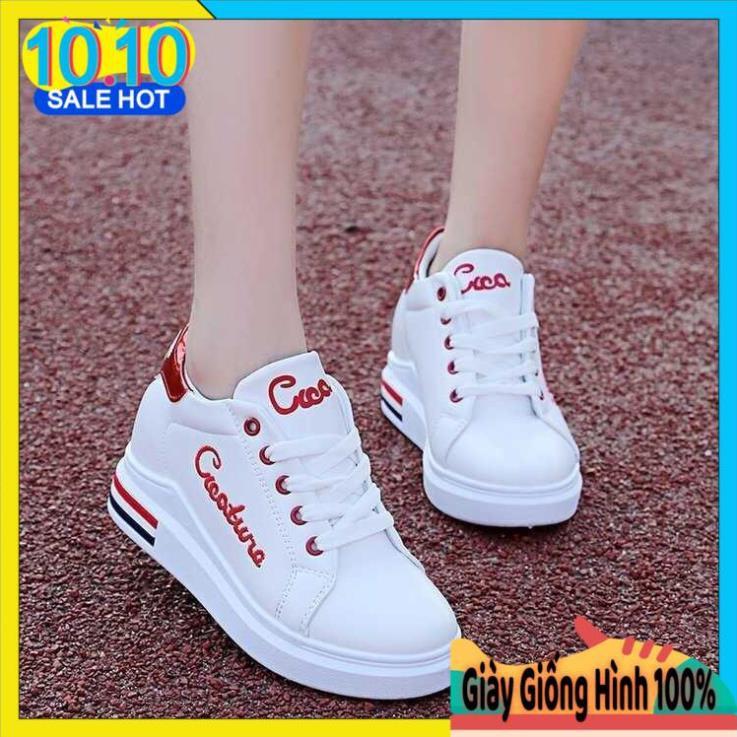 Giày thể thao nữ tăng chiều cao 6cm|Giày nữ đế độn trắng cực đẹp phong cách hàn quốc (FREESHIP+FULL BOX)