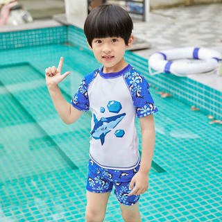 Baby Boy Set Swimwear Cute Shark 2 Pieces Swimsuit Quick Drying Swimming Attire