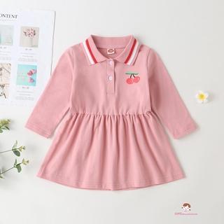 Đầm Tay Dài Cổ Bẻ In Hình Quả Cherry Cho Bé Gái Xzq7