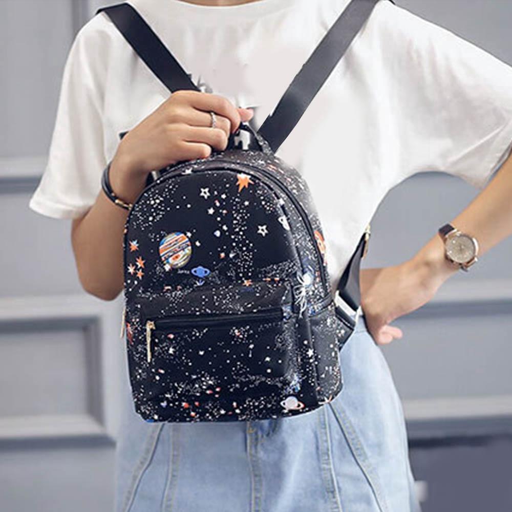 Universe Star Space Printing Women Nylon School Backpack