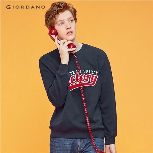 GIORDANO MEN Embroidery fleece-lined loose sweatshirt 01099782