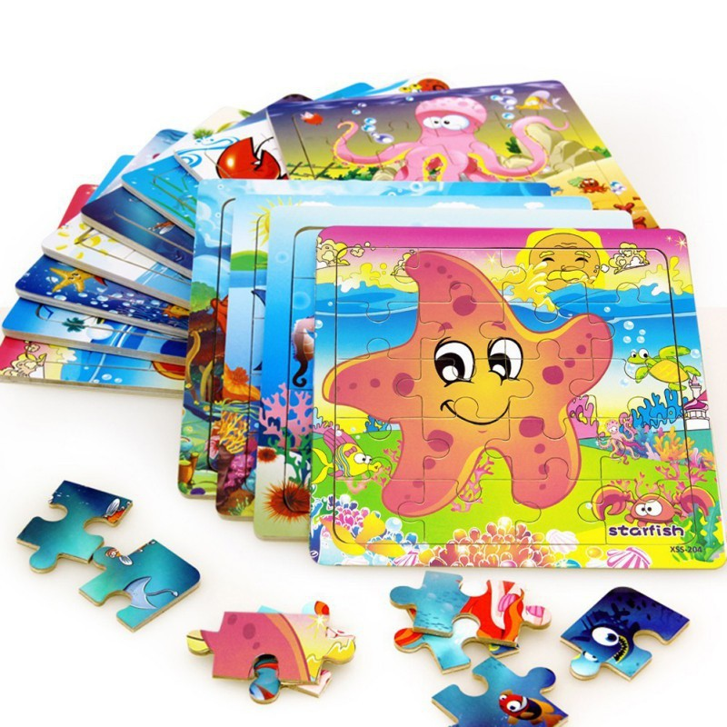 Wooden 3D Puzzles Jigsaw Cartoon Animal Wooden Toys
