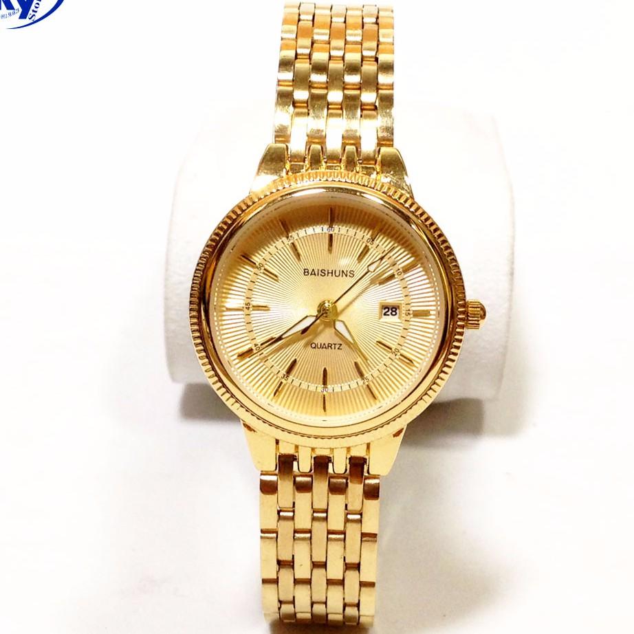 Đồng hồ nữ BAISHUNS ba1255 dây thép mạ vàng không gỉ cao cấp