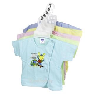 Bộ 5 Áo sơ sinh ngắn tay cúc lệch màu Bosini cho bé trai, bé gái từ sơ sinh đến 11kg thumbnail