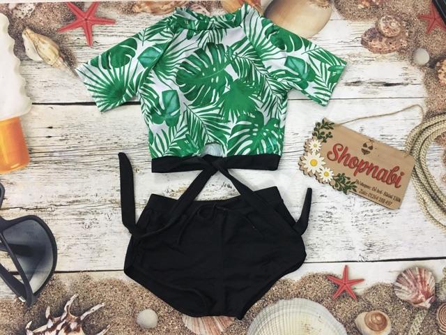 Đồ bơi bikini tay ngắn kín đáo lá cây, 3 mẫu