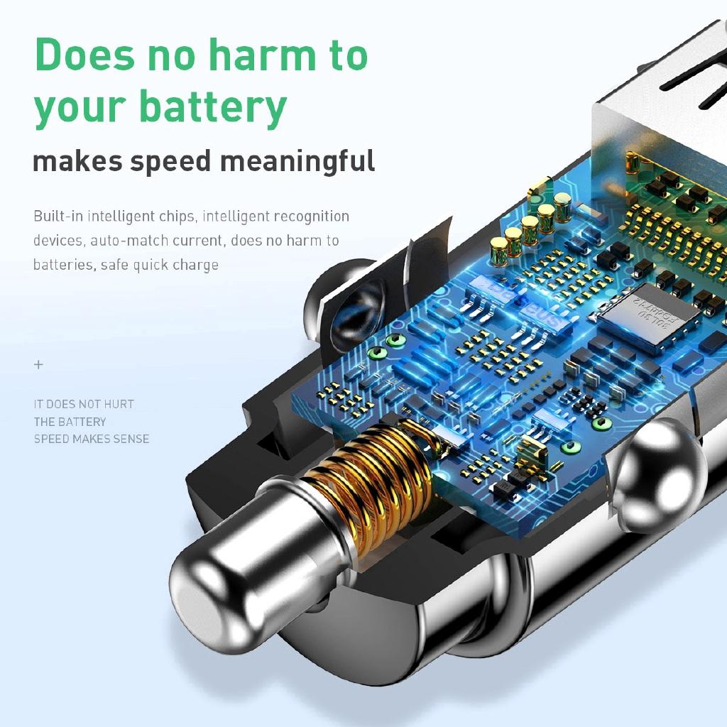 Bộ sạc nhanh Baseus mini USB QC 3.0 cho xe hơi