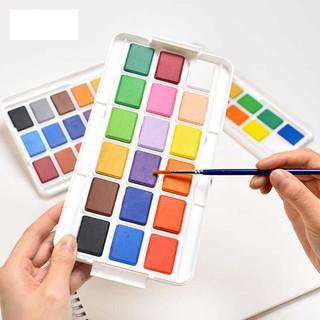 Màu nước deli set 12/ 18/ 24 màu, màu nước dạng nén, màu sắc tươi, mịn , chất liệu an toàn khi sử dụng.
