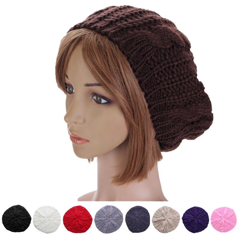 Fashion Warm Winter Women Beret Braided Baggy Knit Crochet