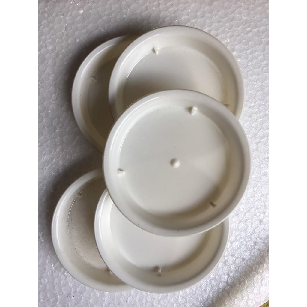 Đĩa lót chậu cây, chậu hoa tròn trắng các loại (5 cỡ)