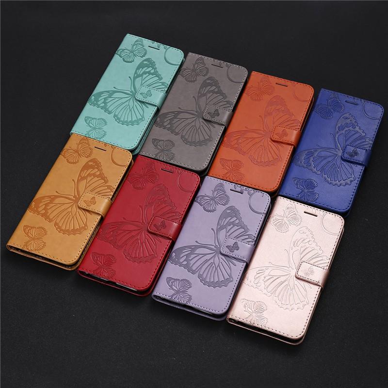 Bao da điện thoại dạng ví có hình bướm thời trang cho Samsung J7