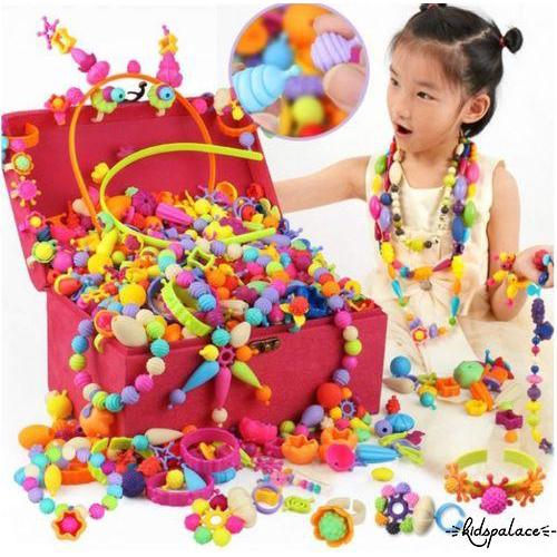 .IA-Kids Children Pop string of beads cart Play Set Toy Gift Plastic Fruit 200 Grain