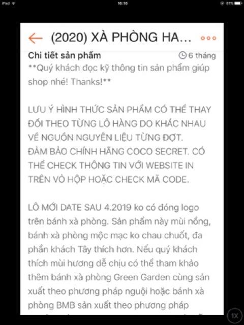 (2022) Combo 10 xà bông dừa coco secret (>100gr /bánh)