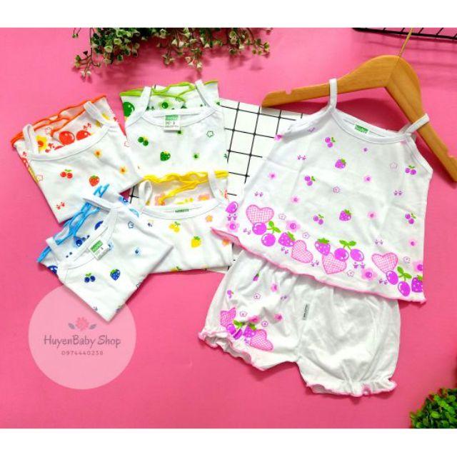 (Loại đẹp) Bộ quần áo 2 dây cotton cho bé gái