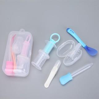 Set 5 dụng cụ chăm sóc cho bé (dụng cụ uống thuốc, nhíp gắp rỉ mũi, thìa báo nóng, bàn chải nướu, ống bón sữa)