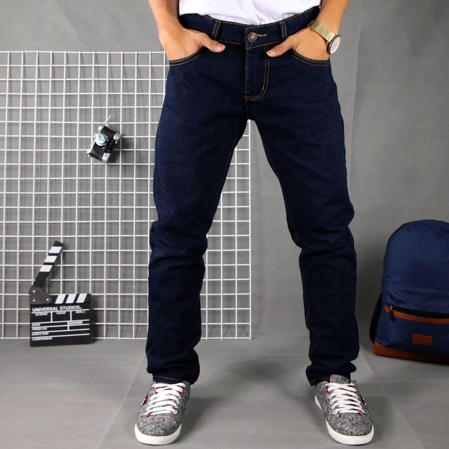 Quần jean nam xanh đen vải dày, không ra màu TS61 Tronshop