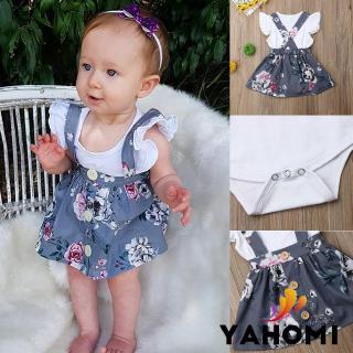 Bộ Quần Áo Gồm 2 Món Áo Thun + Váy Yếm Dành Cho Trẻ Sơ Sinh Nữ 0-24 Tháng
