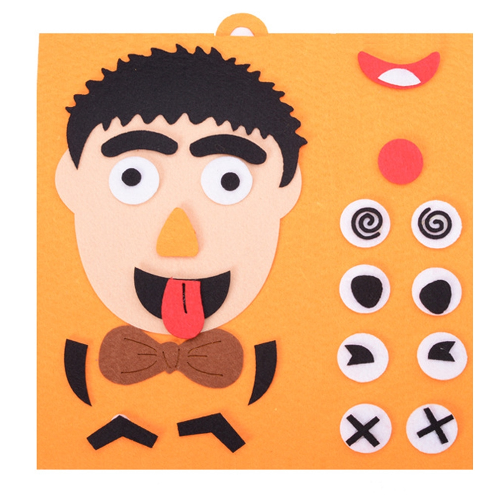 Game Facial Expression Emotion Change Children DIY Toys Funny Cloth Fabric Early Childhood Educational Toy