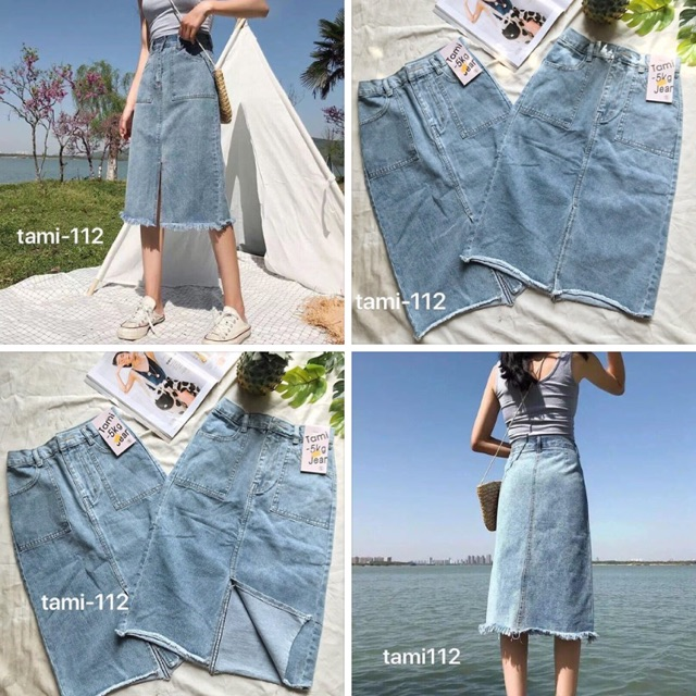 Chân váy jean dài xẻ lai túi xanh nhạt siêu đẹp - Hình tự chụp 100% lun nha.👍👍Chất jean đẹp lắm ạ