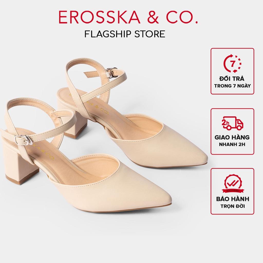 [Mã WABR151 giảm 10% đơn 99000] Giày cao gót Erosska mũi nhọn phối dây hở gót cao 5cm màu nude _ EK001