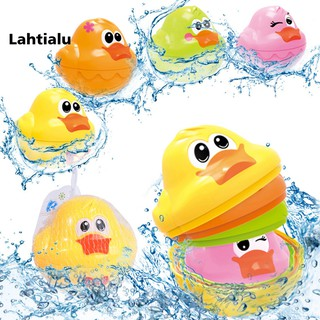 Lahtialu 4Pcs/Set Baby Bath Floating Colorful Duck Stacking Development Learning Kids Toy