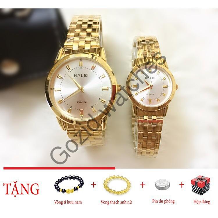 Đồng hồ cặp đôi dây thép Halei Gold platium sang trọng -Gozid.watches