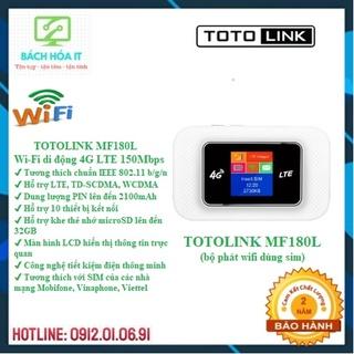 Bộ phát Wifi di động dùng sim 4G TOTOLINK MF180L có màn hình, chính hãng, bảo hành 24 tháng thumbnail