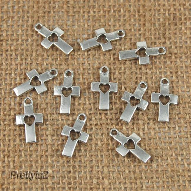 20 xTibetan Silver Love Heart Cross Charms Pendants Jewelry Findings