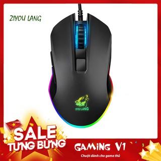 Chuột game thủ Gaming V1 Wolf Black LED RGB Dành cho laptop, pc, máy tính, tivi thumbnail