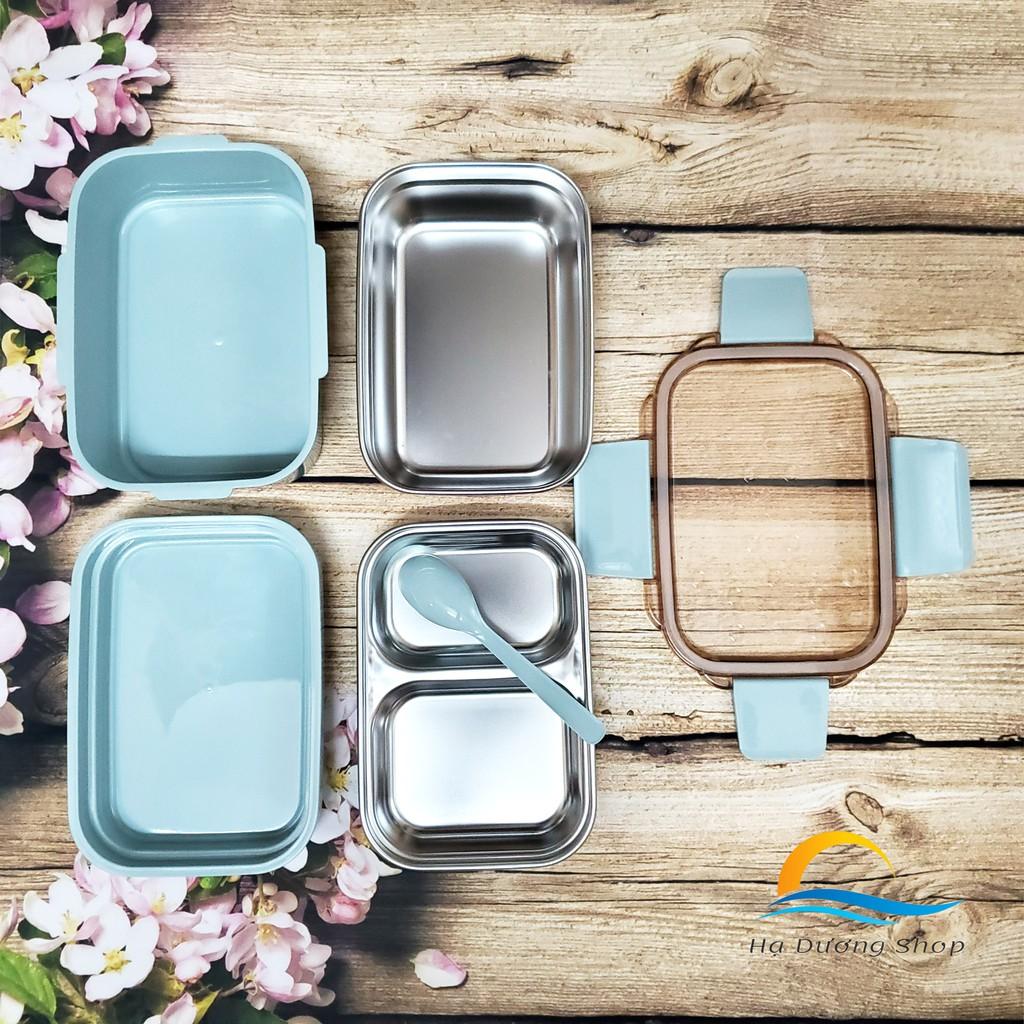 [FLASH SALE 3 NGÀY] Hộp cơm giữ nhiệt văn phòng HADU inox 304 gồm 4 khay có thìa nắp đậy khóa kép an toàn cao cấp