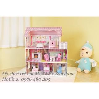 Nhà búp bê Barbie 3 tầng bằng gỗ siêu lớn [ có nội thất]