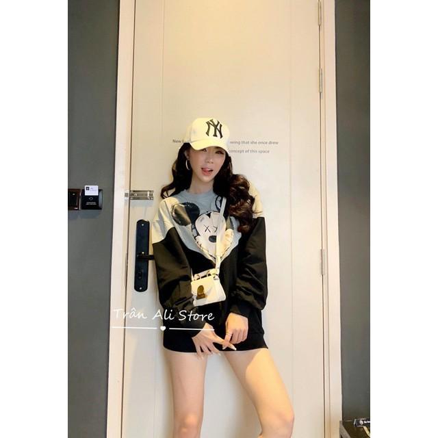 Áo nỉ hoodie in gấu phối màu siêu hot form to