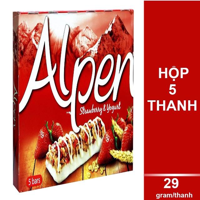 Ngũ Cốc Ăn Sáng Thanh Dâu & Yogurt Alpen (5 Thanh x 29g)