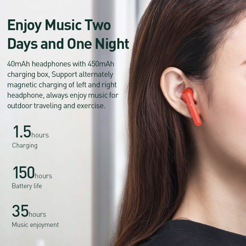 Tai nghe Bluetooth đôi Baseus W09 Encok (TWS, Intelligent Touch Control, Stereo Bass, Smart Connect)