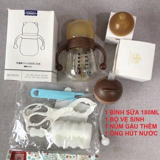 [Napubee] Bình sữa gấu bestborn 180ml + núm + bộ vệ sinh + đầu ống hút thumbnail