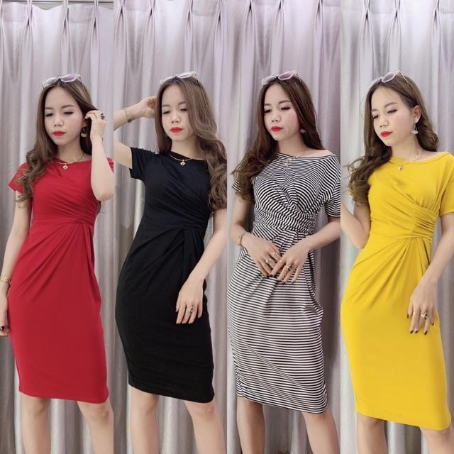 Váy Body, Đầm Body Xoắn Eo Tôn Dáng - Chất đẹp V30